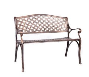 Обеденная группа из литого алюминия c столом ЛИОН + 2 кресла СЕДОНА + скамейка ЖАСМИН