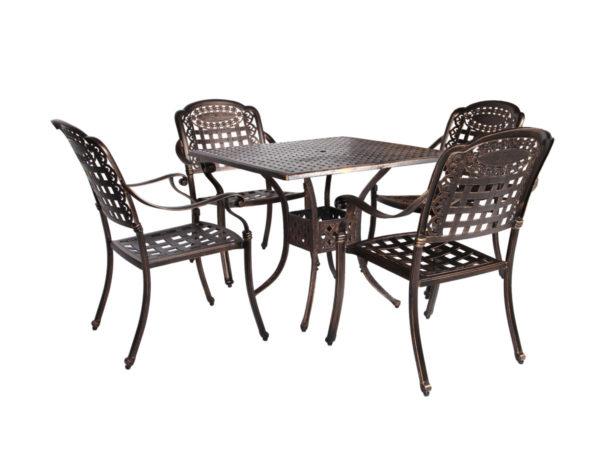 Обеденная группа из литого алюминия c столом ЛИОН + 4 кресла ВУЛКАН