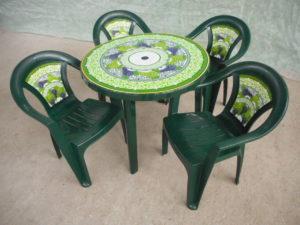 """Комплект пластиковой мебели (стол круглый """"Грозди винограда"""" D900 мм+ 4 кресла """"Грозди винограда"""")"""